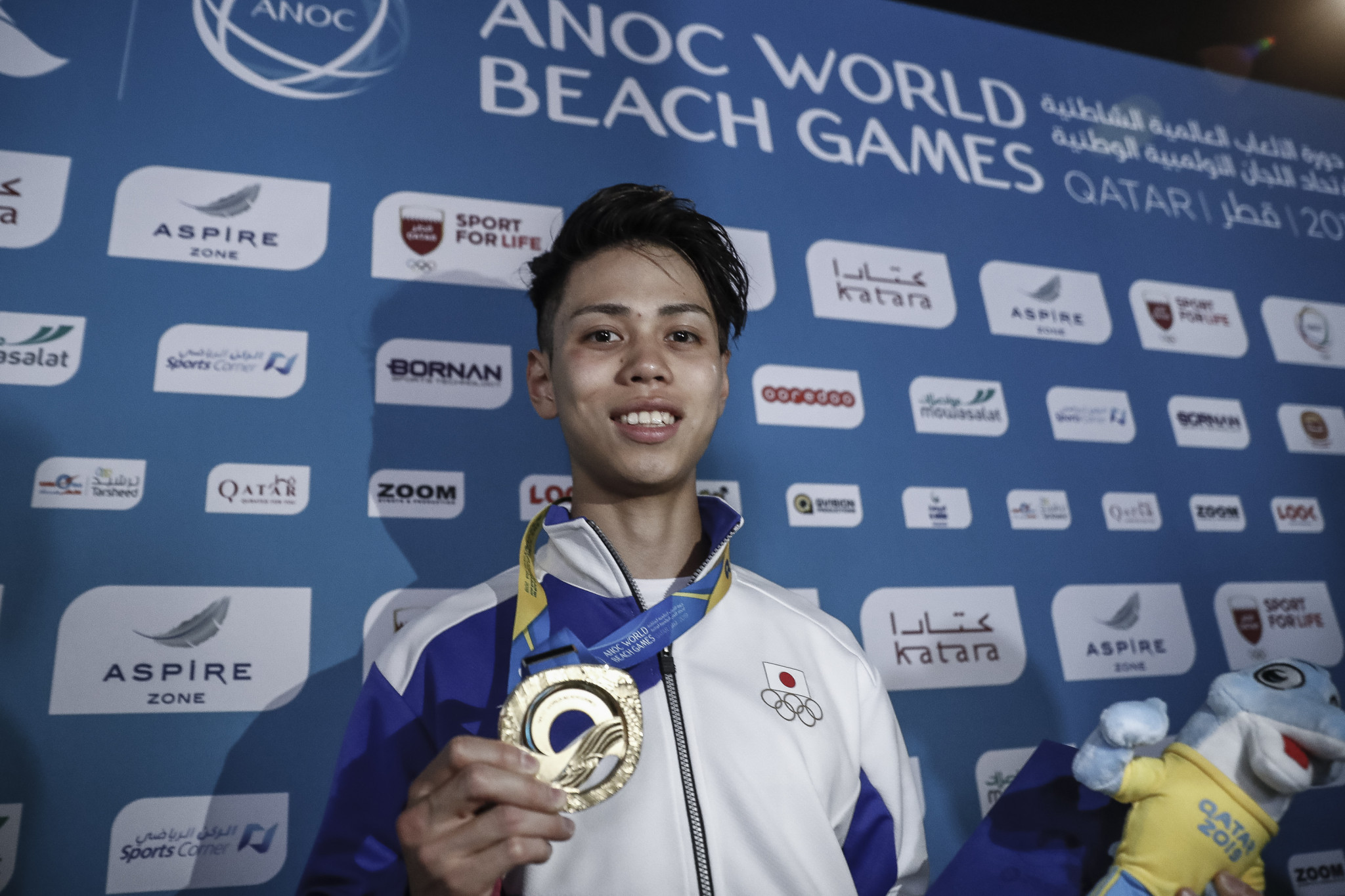 Kai Harada made it a Japanese double in the bouldering ©ANOC