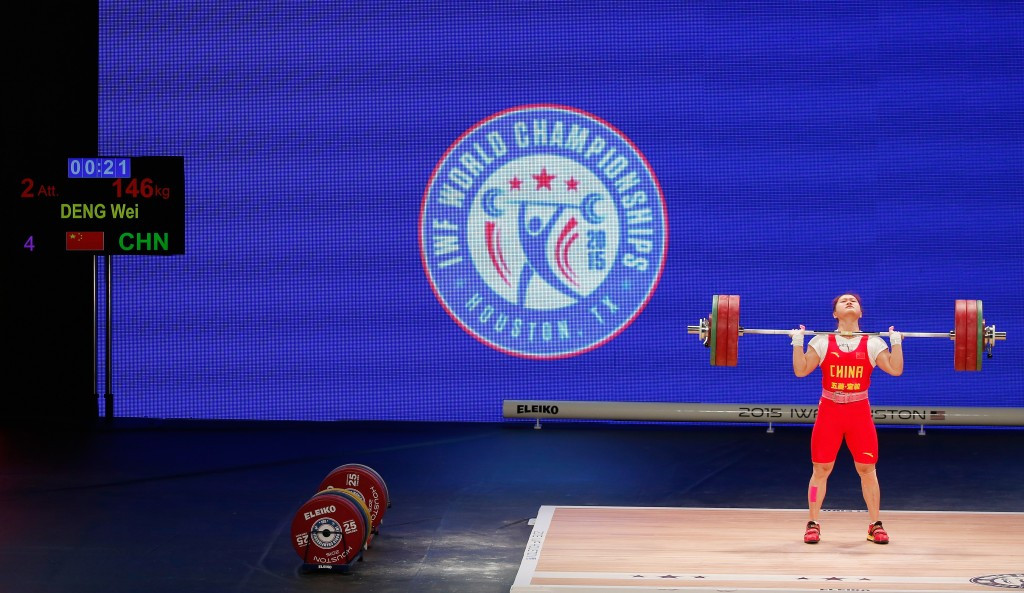 China's Wei Deng claimed a clean sweep of the women's 63 kilogram gold medals and also broke the clean and jerk world record ©Getty Images
