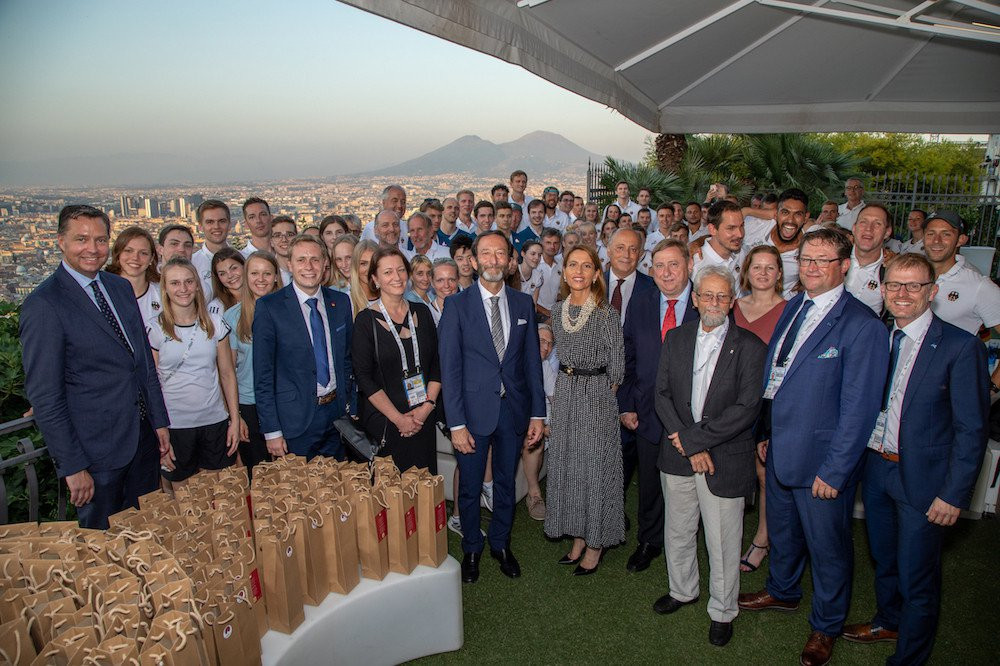 A delegation from Germany met FISU officials at the 2019 Summer Universiade in Naples to discuss plans for the 2025 edition ©FISU