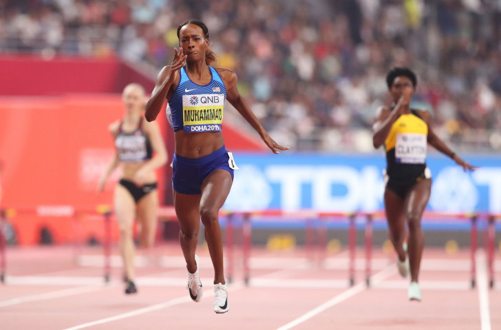 Dalilah Muhammad, of the United States, broke her own world record to win the world 400m hurdles title in Doha ©Getty Images