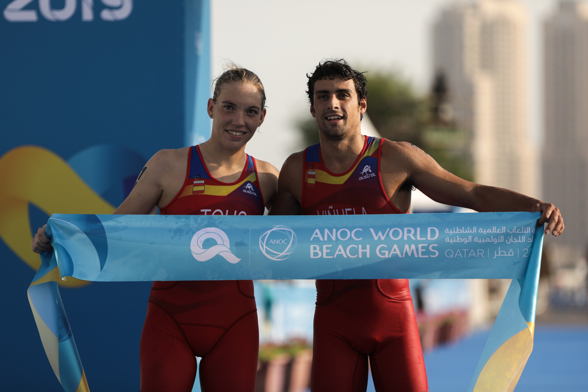 Spain won an early morning aquathlon mixed relay ©ANOC