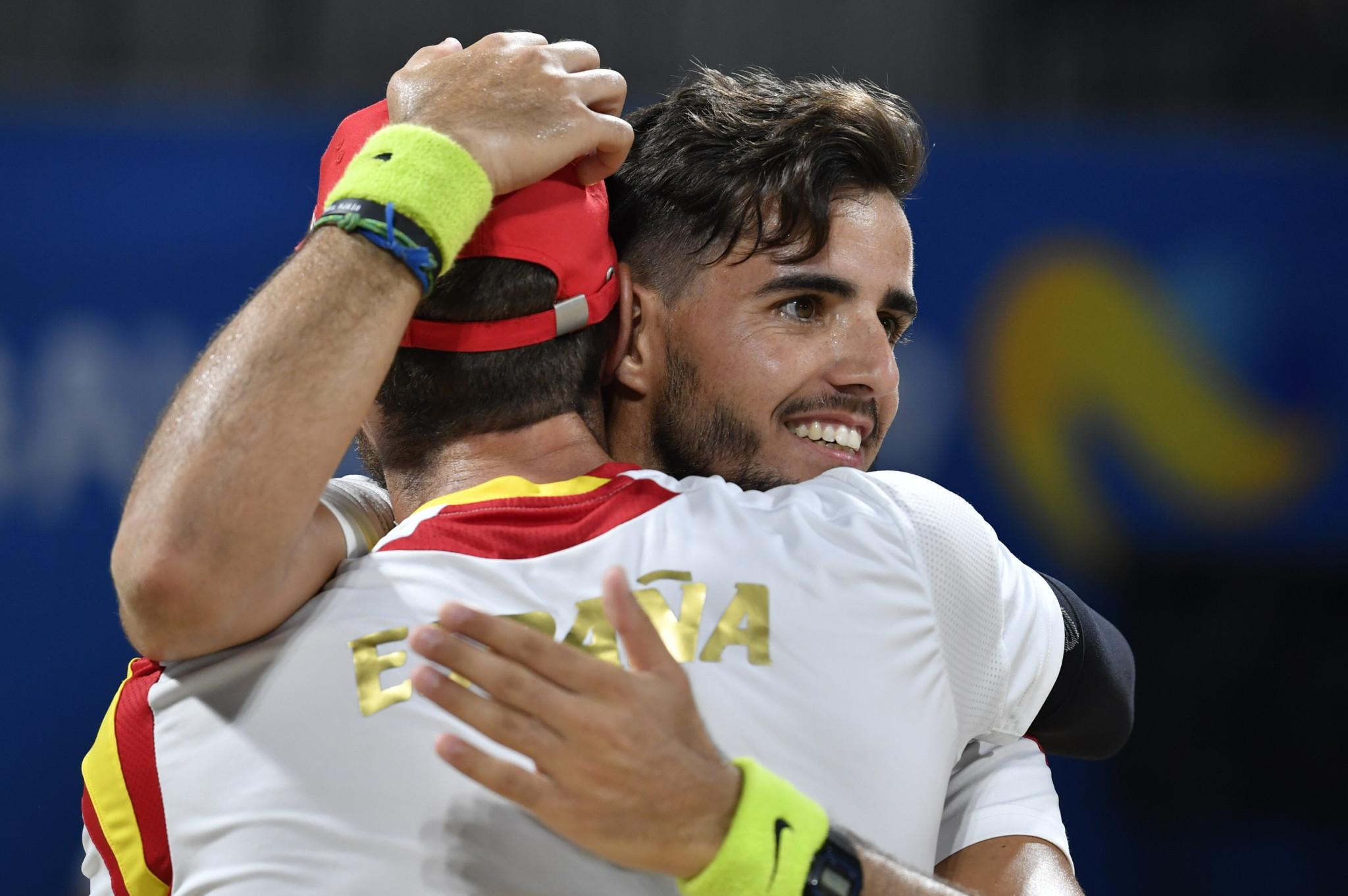 Spain's Antonio Ramos and Gerard Rodriquez won the beach tennis men's doubles ©ANOC