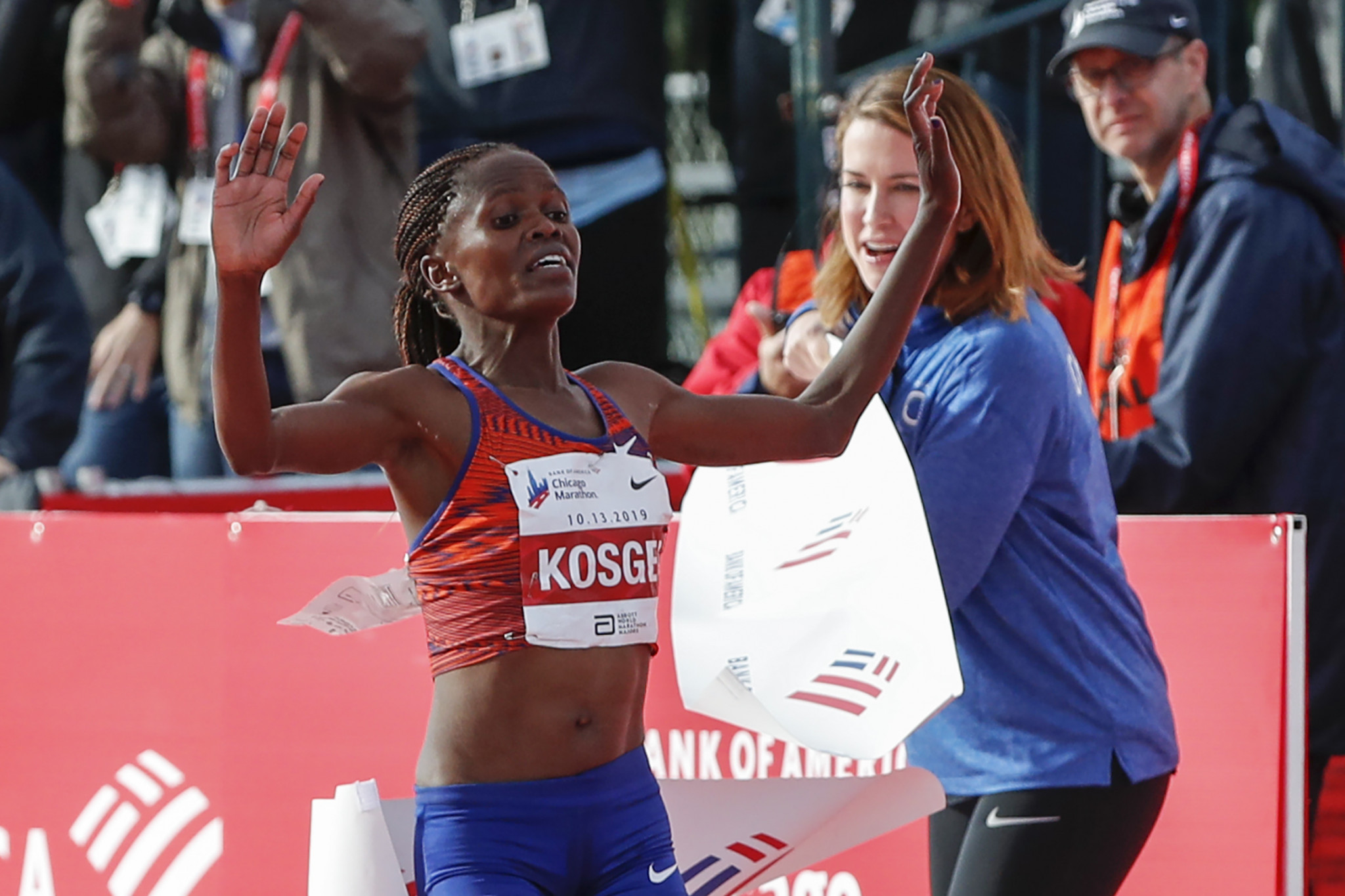 Kenya's Brigid Kosgei, the new marathon world record holder, was among 11 nominations for the IAAF Women's World Athlete of the Year on a list that also includes two team-mates ©Getty Images