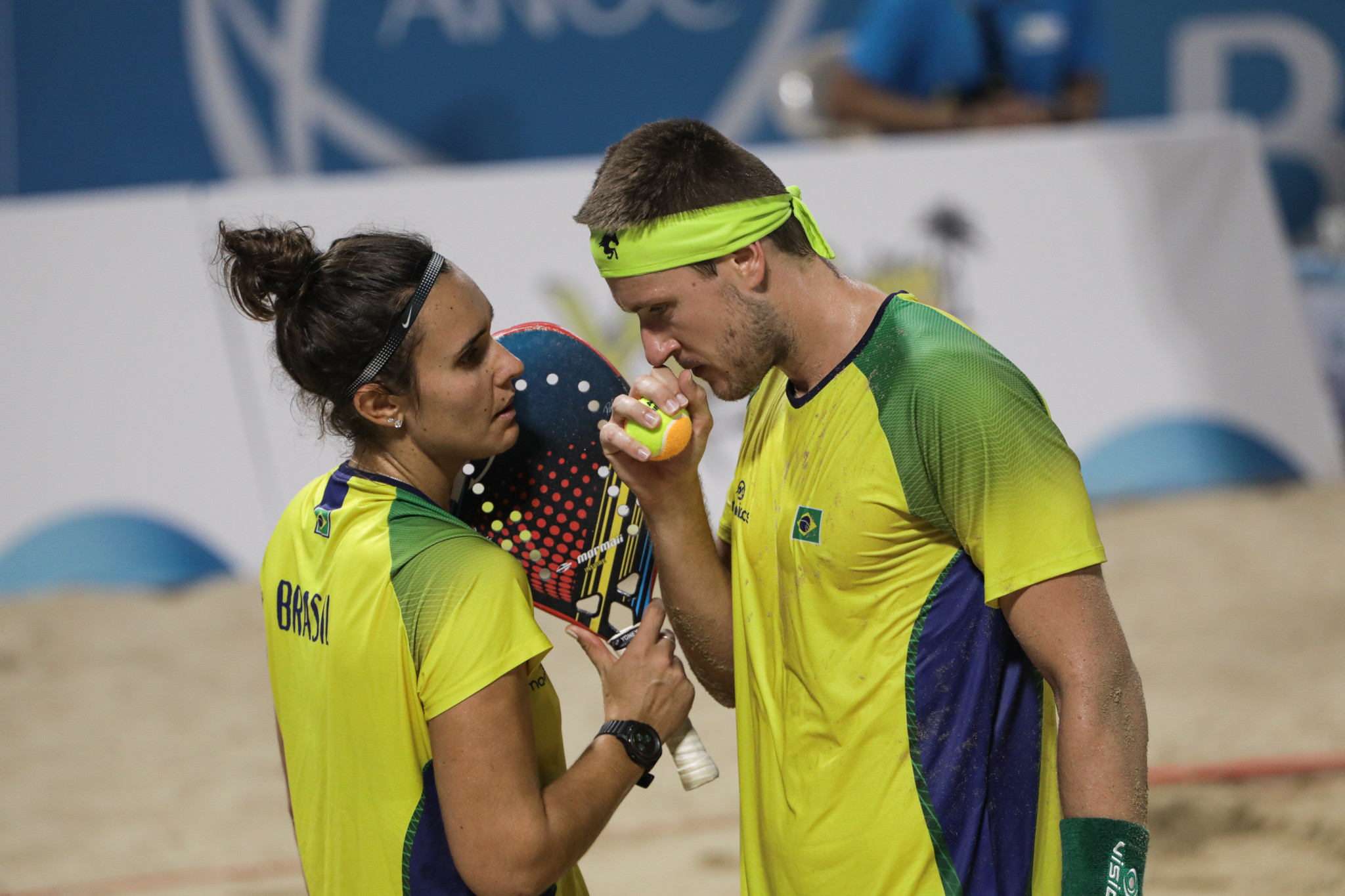 Andre Baran and Rafaella Miller won the mixed doubles beach tennis for Brazil ©ANOC