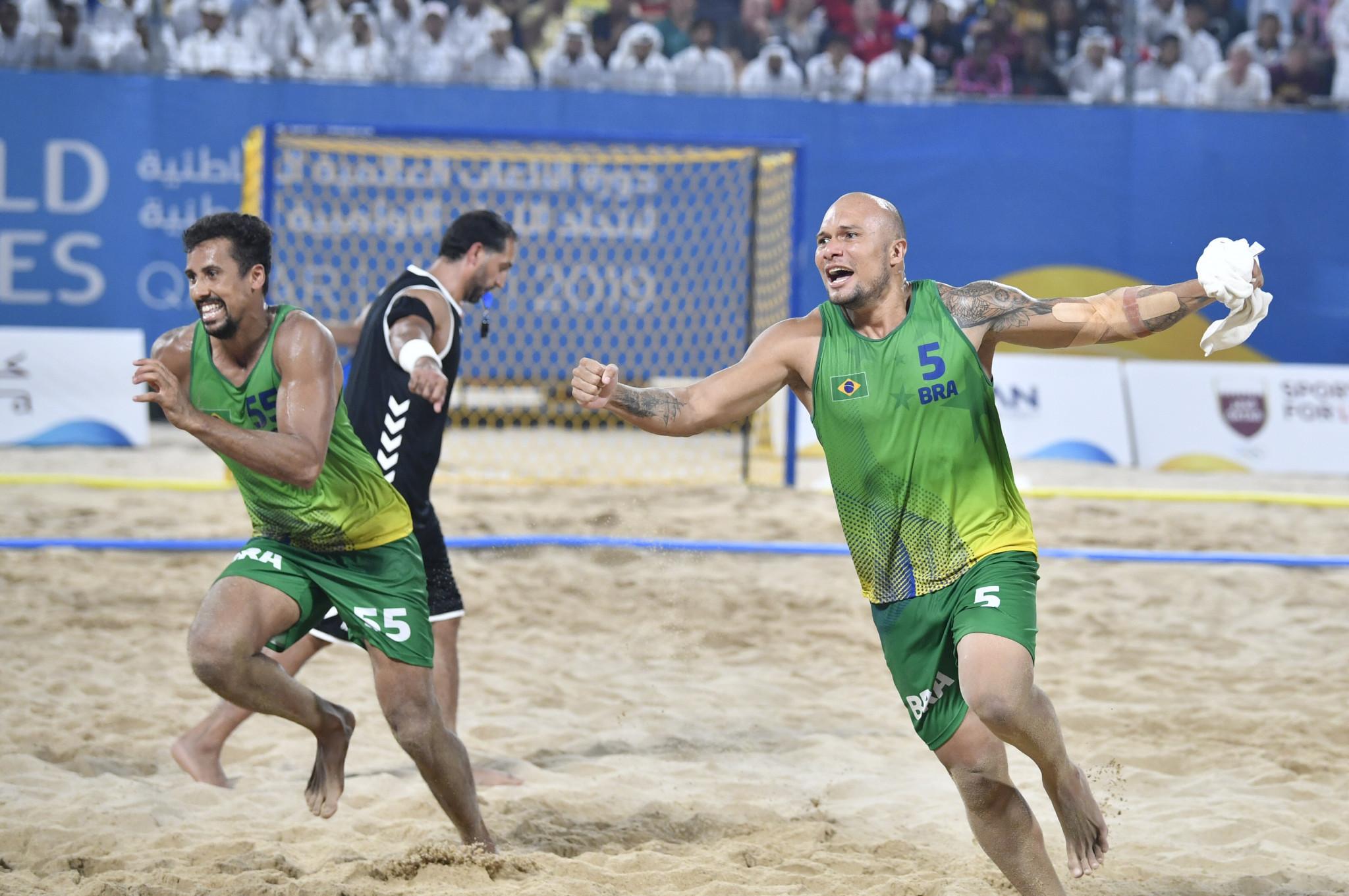 Brazil celebrate winning men's beach handball gold ©ANOC