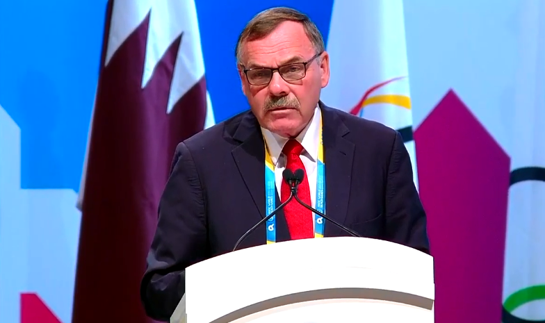 ANOC Legal Commission chair Michael Chambers claimed their constitution allowed the resolution to be passed allowing Robin Mitchell to serve as Acting President for the full term of Sheikh Ahmad's mandate if necessary ©YouTube