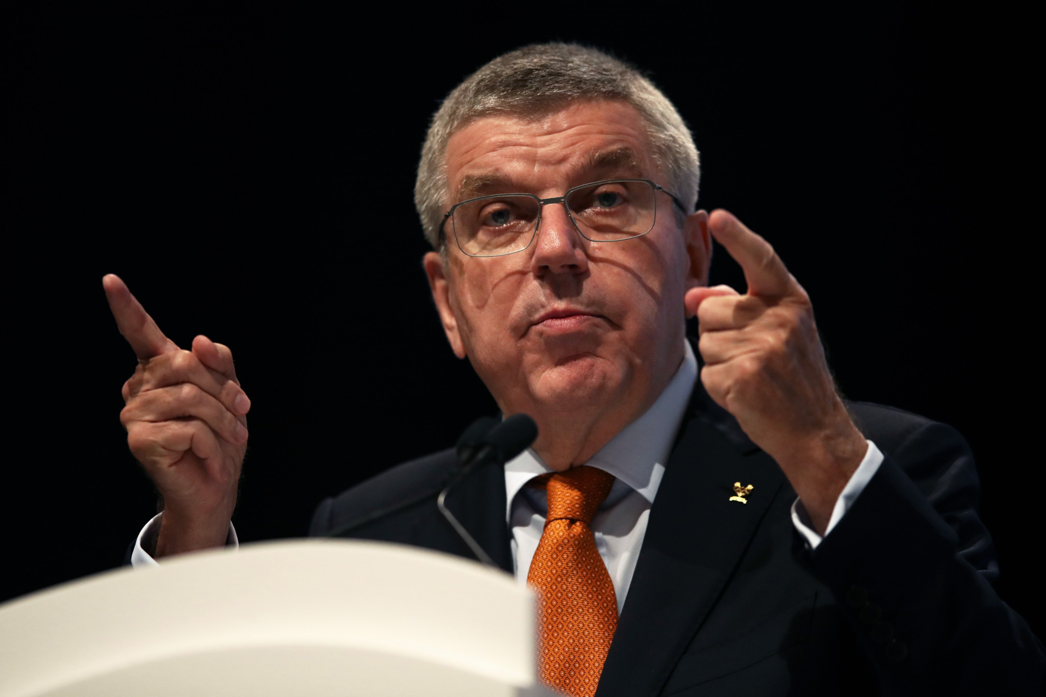International Olympic Committee President Thomas Bach delivered a speech ©Getty Images