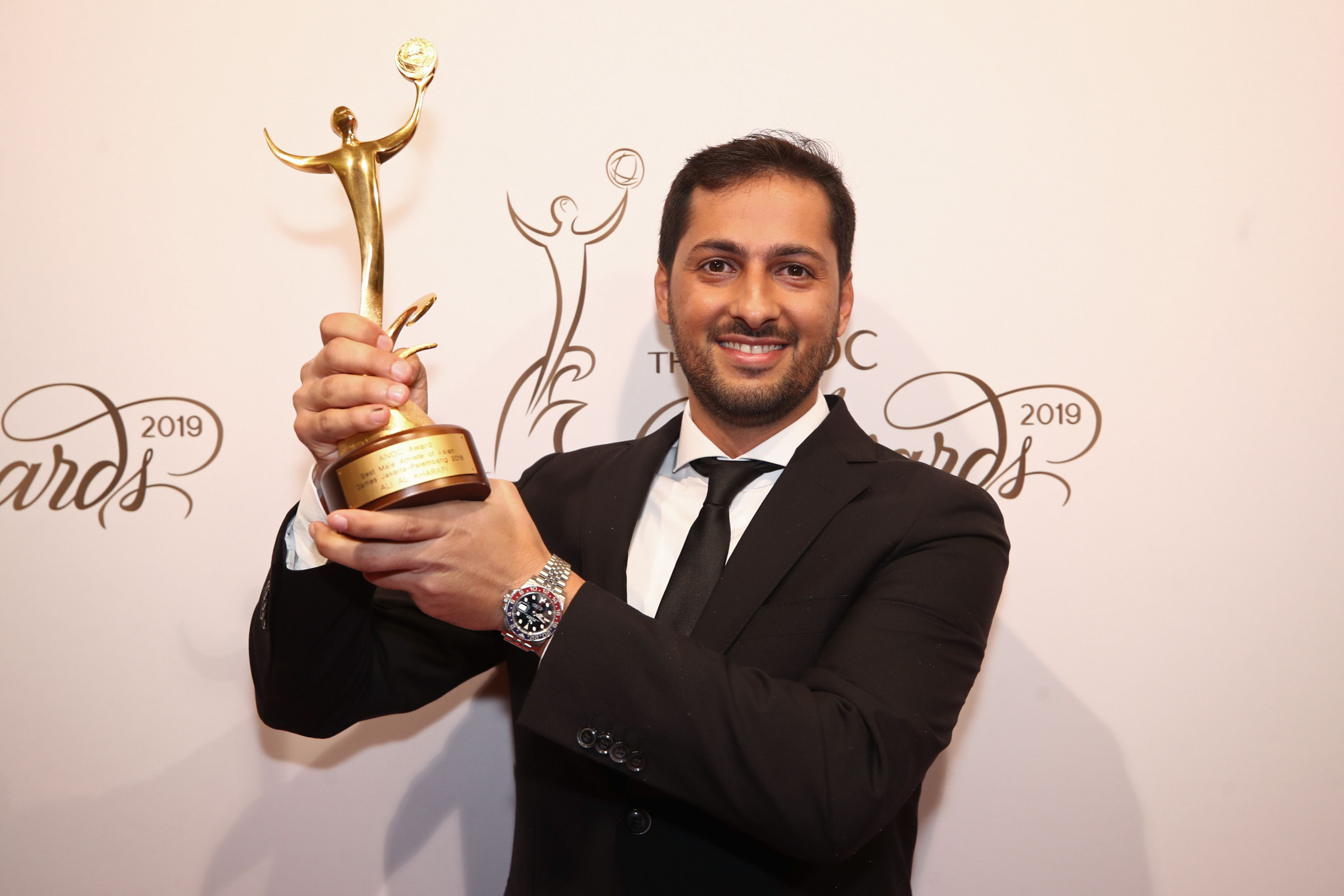 Kuwait's Ali Al-Khorafi dedicated his best male athlete of the Asian Games award to Sheikh Ahmed Al-Fahad Al-Sabah ©ANOC