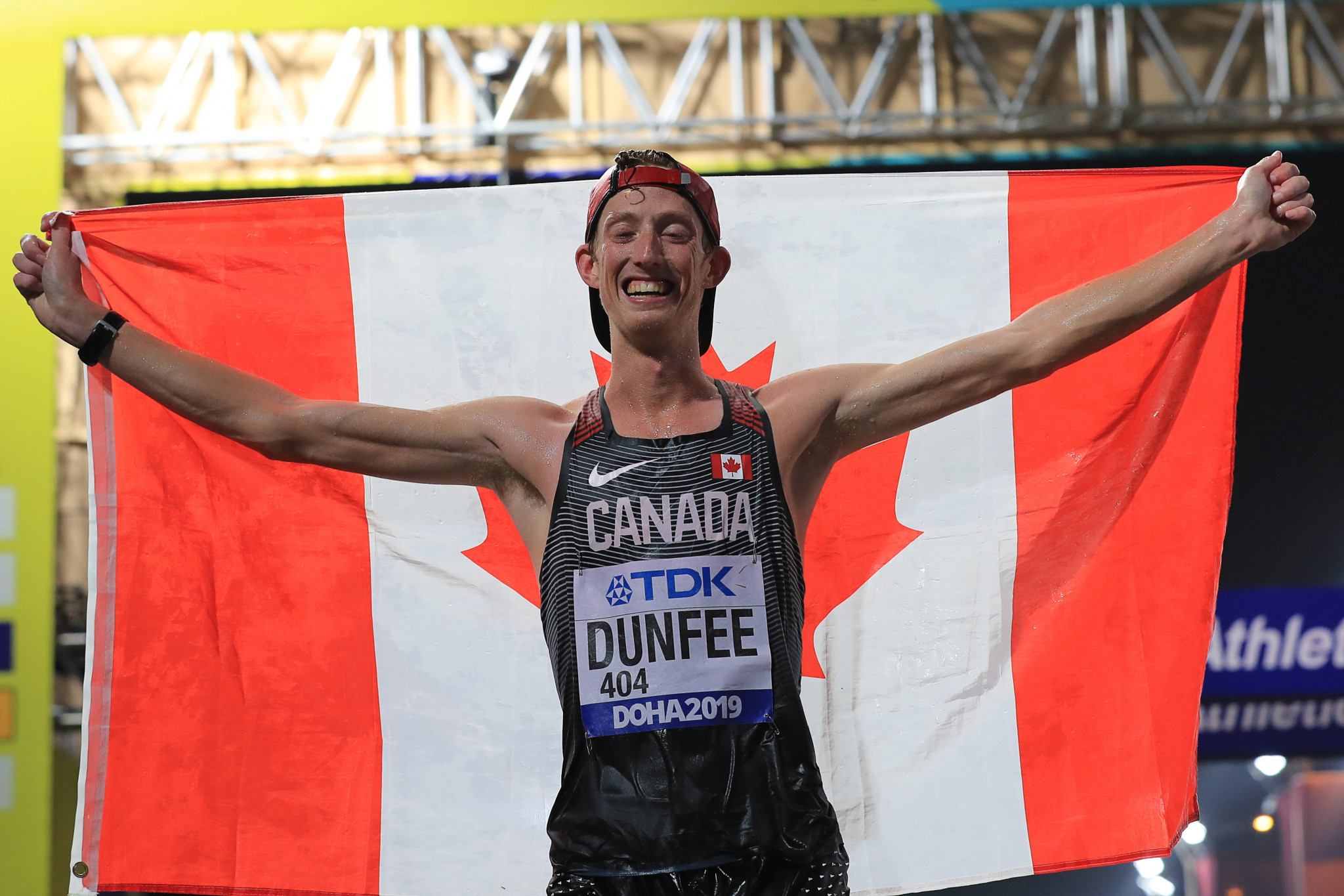 Evan Dunfee of Canada won bronze in the men's 50km race walk at the World Athletics Championships in Doha ©Getty Images