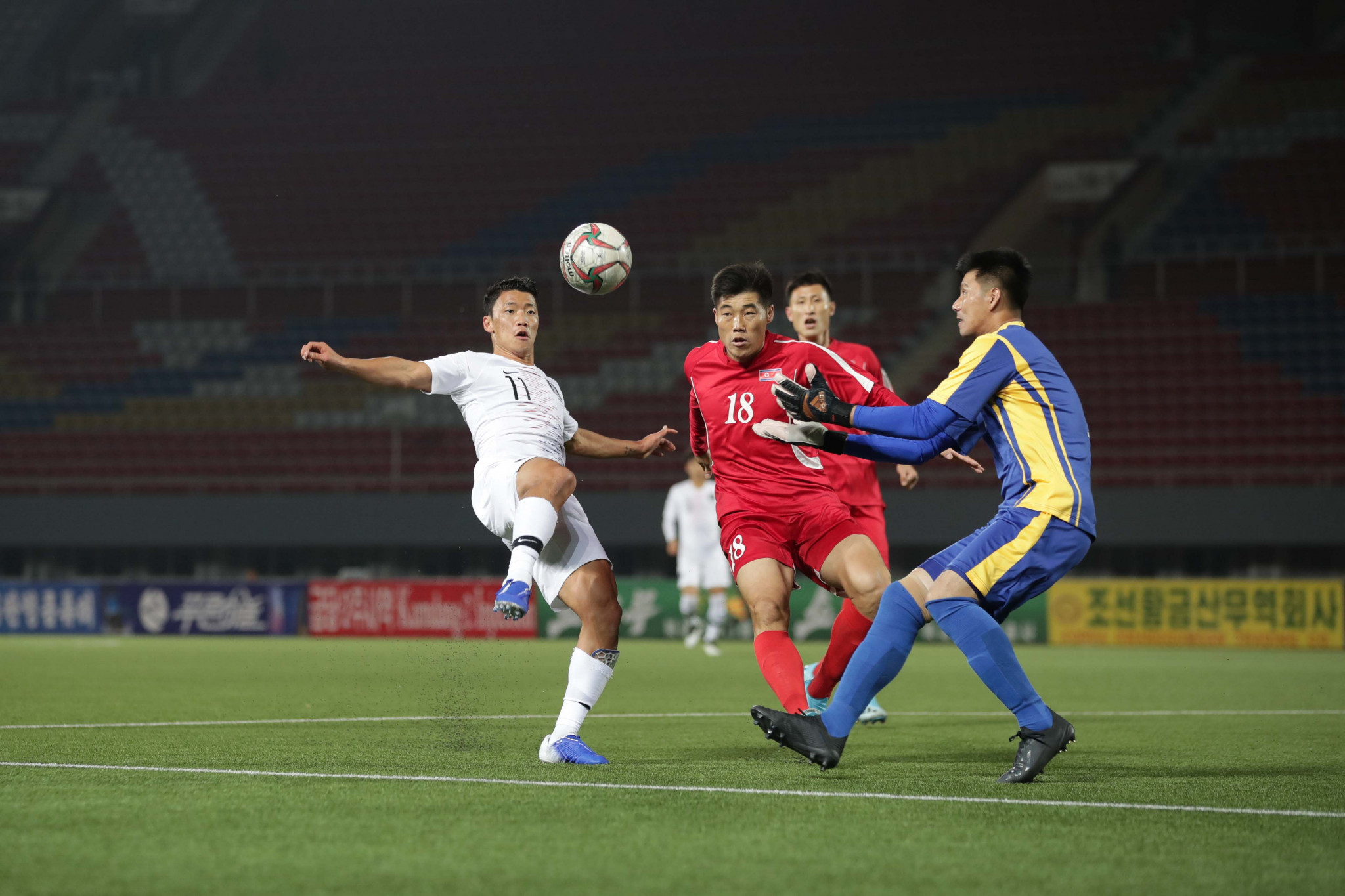 North Korea and South Korea drew 0-0 in the match, held in front of empty stands ©Getty Images