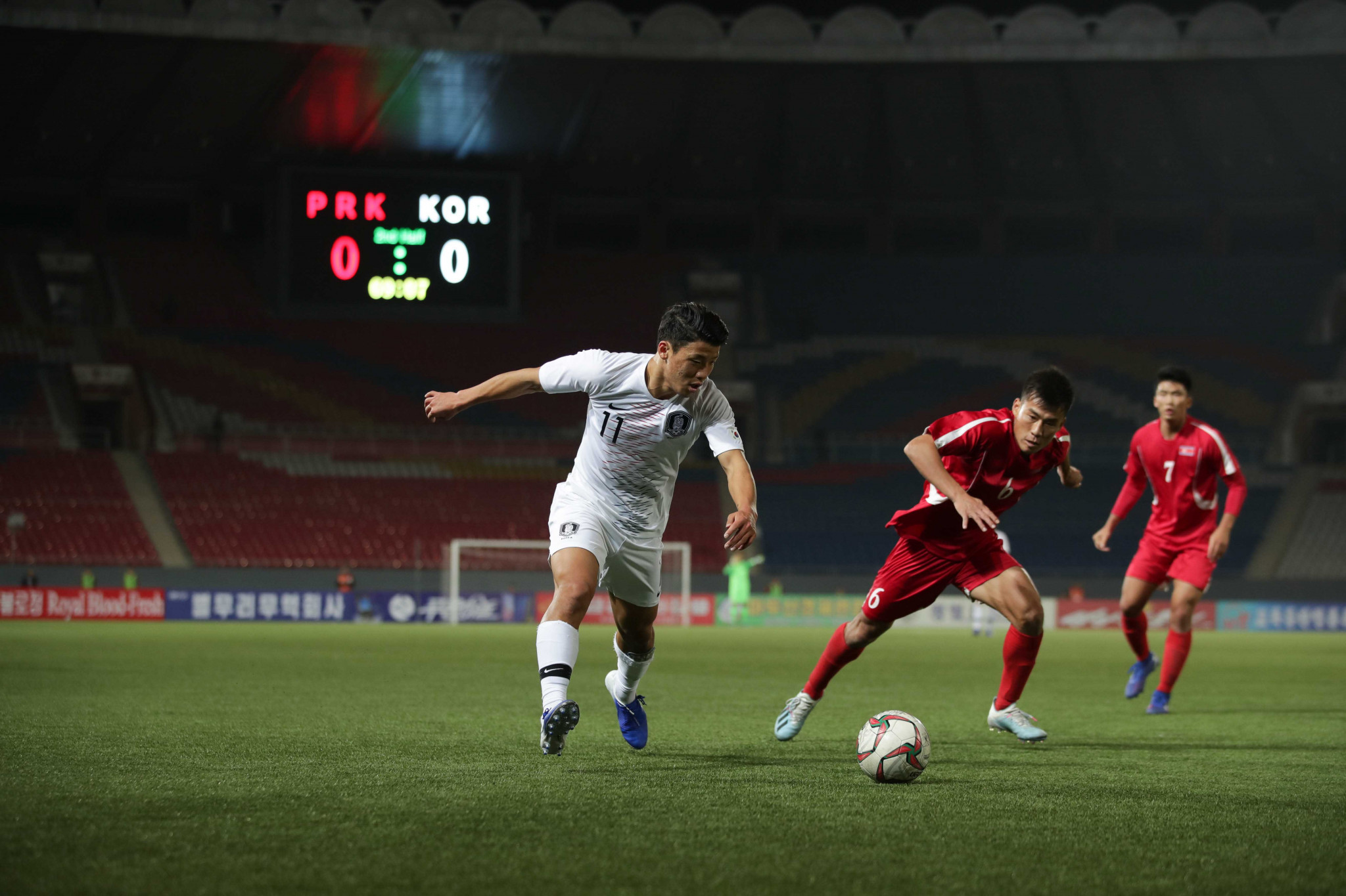 South Korea drew 0-0 with North Korea at an empty Kim Il Sung Stadium in Pyongyang ©Getty Images