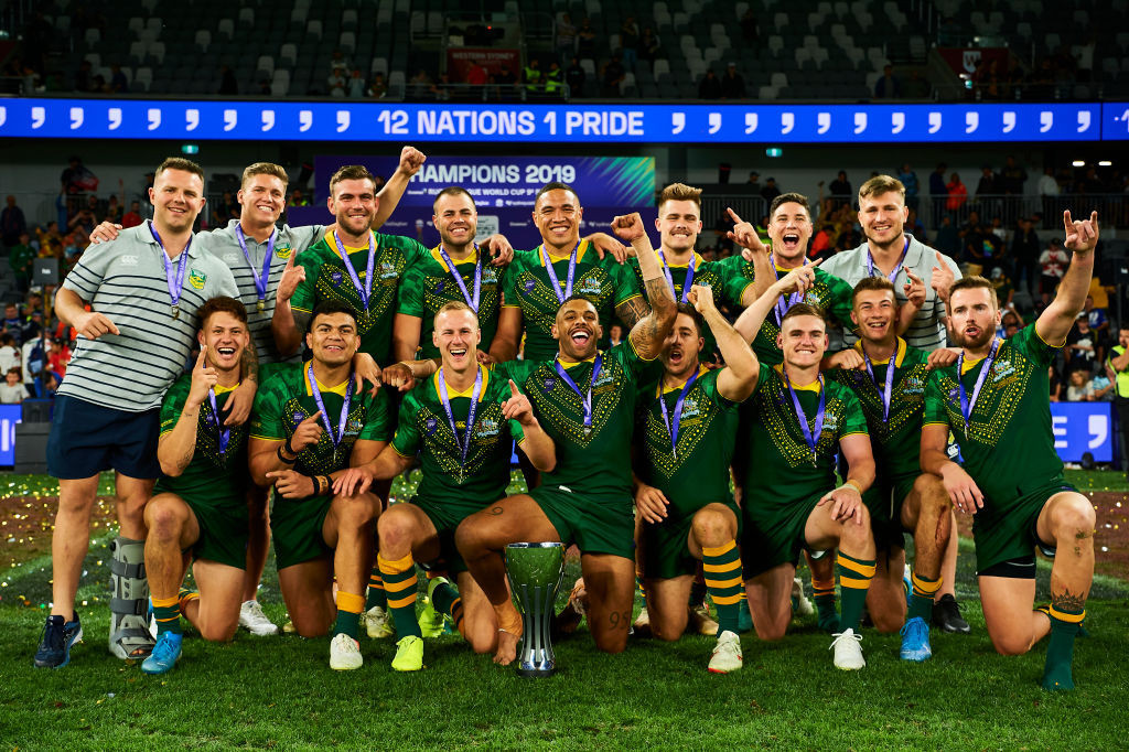 The victorious Australian rugby league 9s squad ©Getty Images