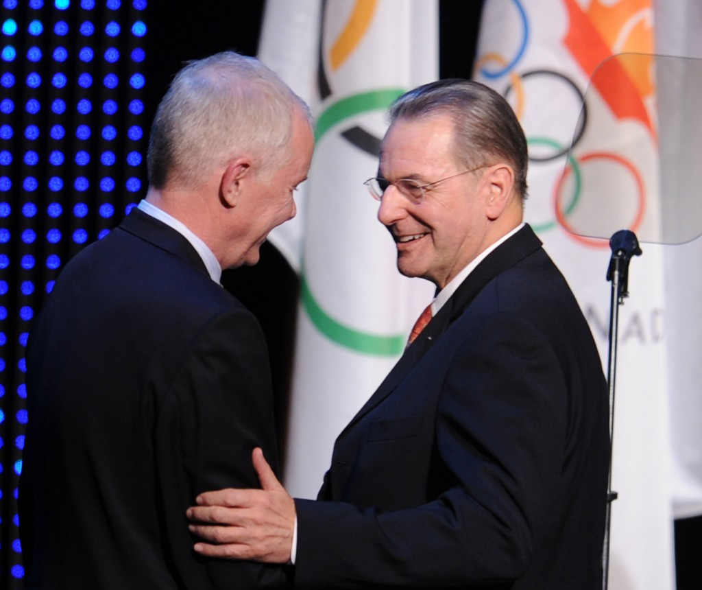 Vancouver 2010 chief executive John Furlong (left) pictures with former IOC President Jacques Rogge in 2010 ©Getty Images