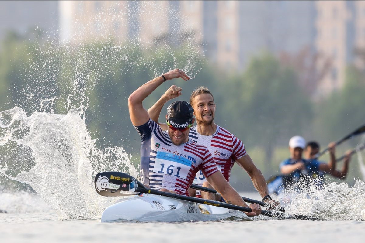 Jeremy Candy and Quentin Urban of France earned their country's first men's C2 world gold medal ©ICF