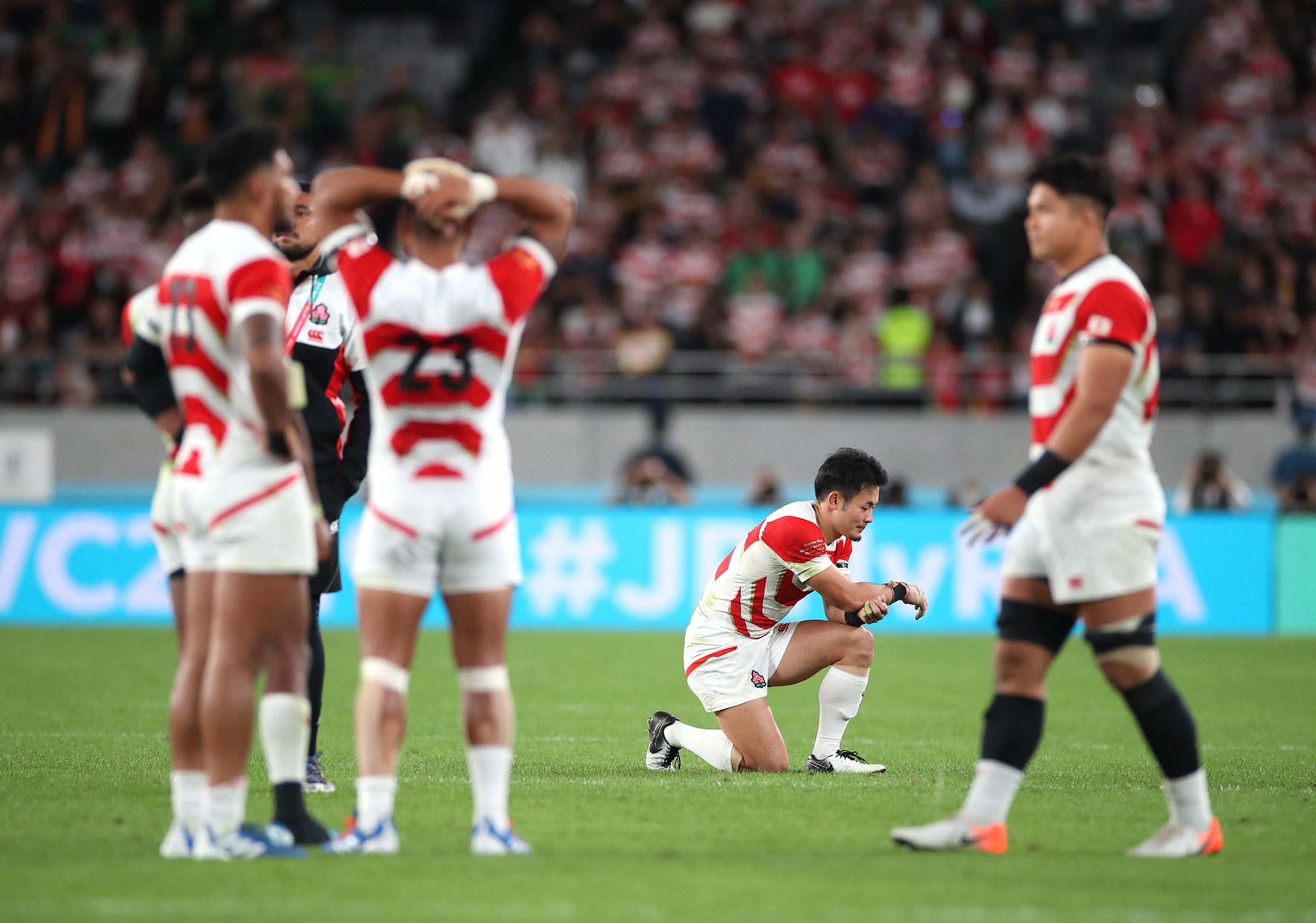 The Japanese side were visibly upset as the full-time whistle went and they were knocked out of the tournament at the quarter-final stage ©Getty Images