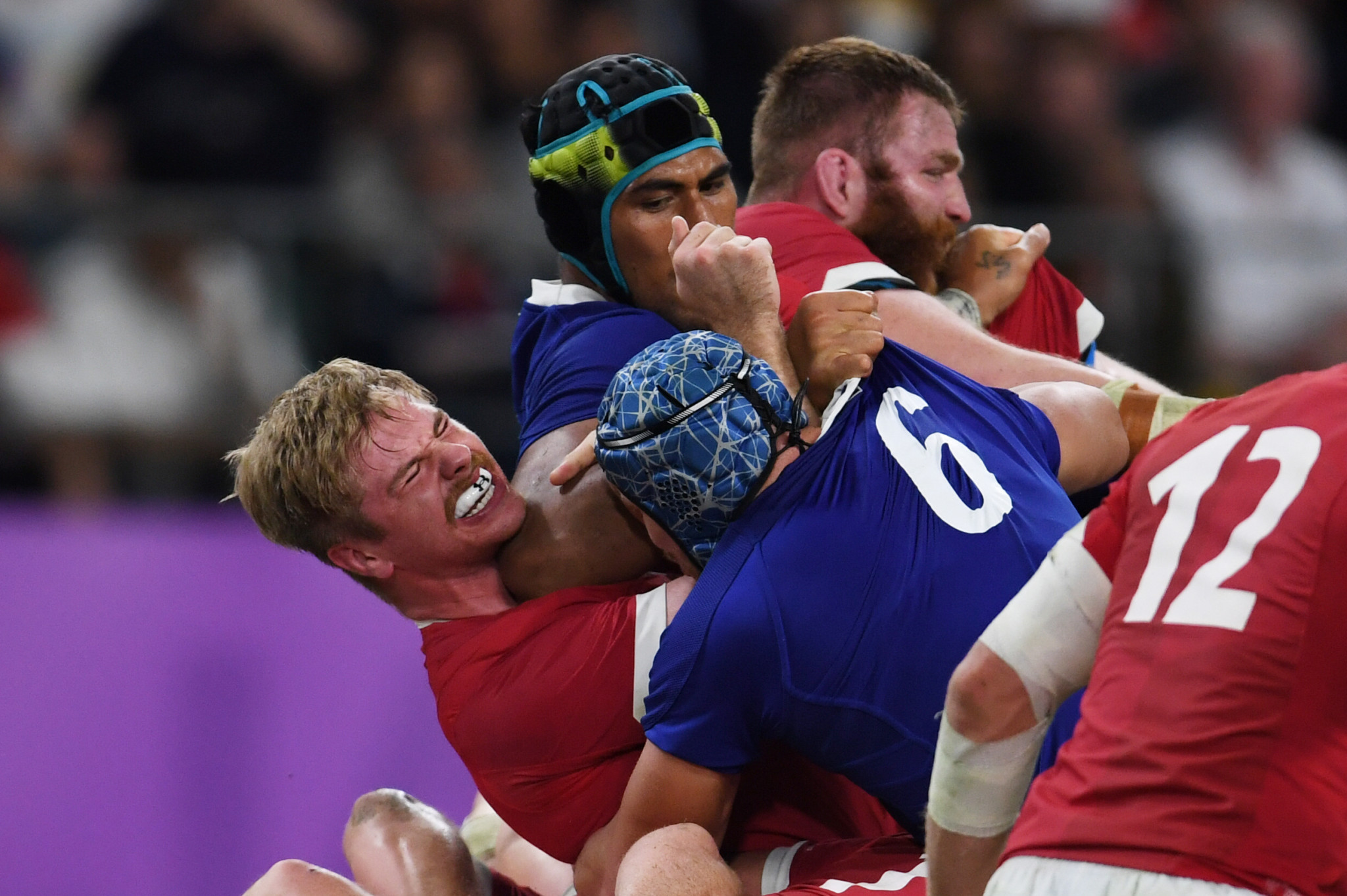 Sebastien Vahaamahina of France was sent off in the second half, having elbowed Aaron Wainwright ©Getty Images