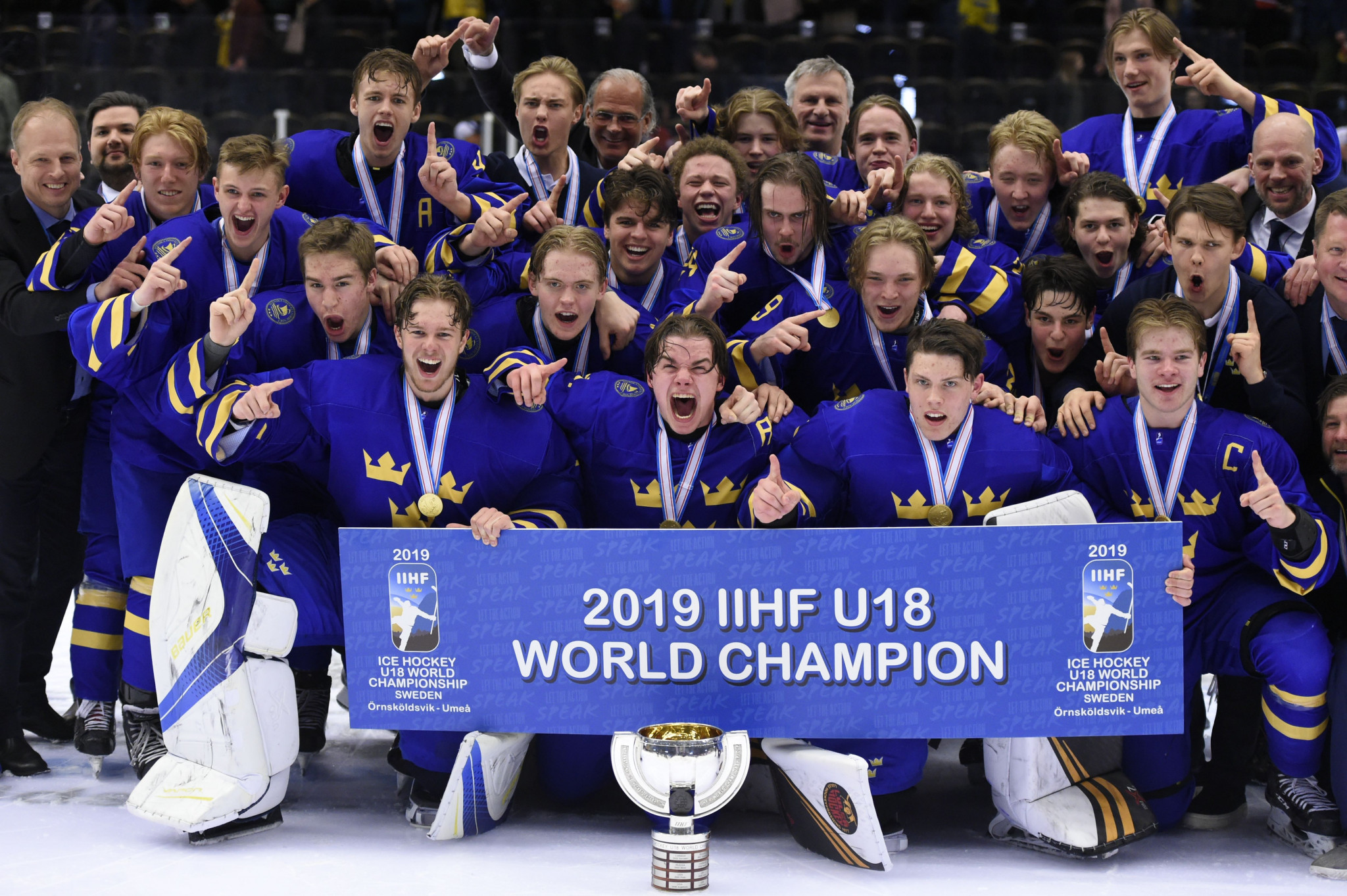 Hosts Sweden triumphed at the 2019 IIHF Under-18 World Championship ©Getty Images