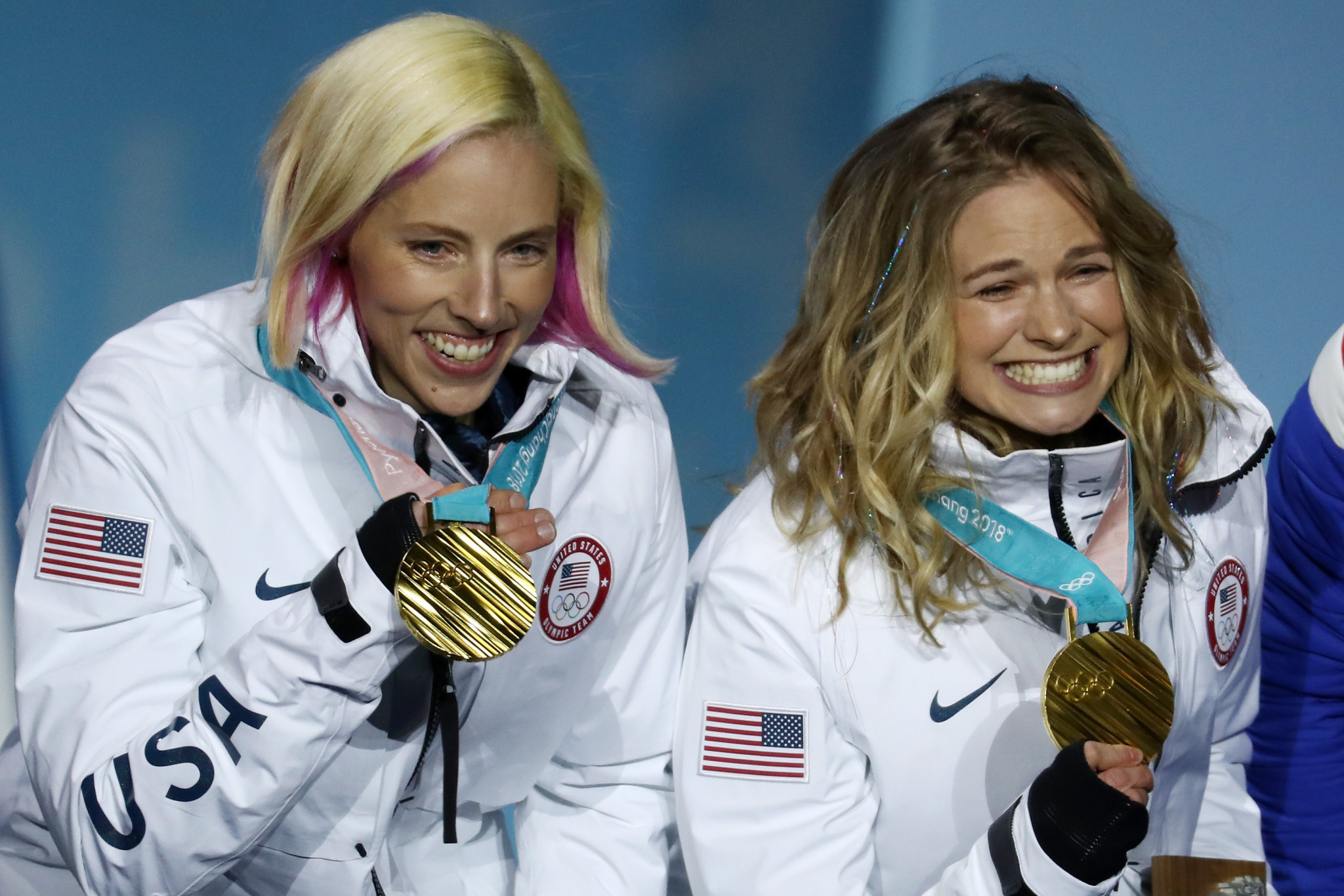 Kikkan Randall, left, was diagnosed with breast cancer soon after winning an Olympic gold medal at Pyeongchang 2018 but has now recovered following treatment ©Getty Images
