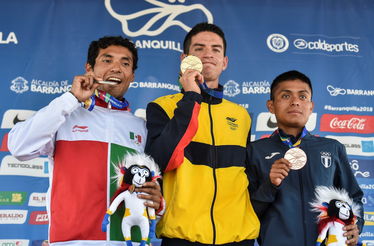 Men's marathon medallists at last year's Central American and Caribbean Games - the IFBB hope to have bodybuilders on the podium at the next staging in Panama ©Getty Images