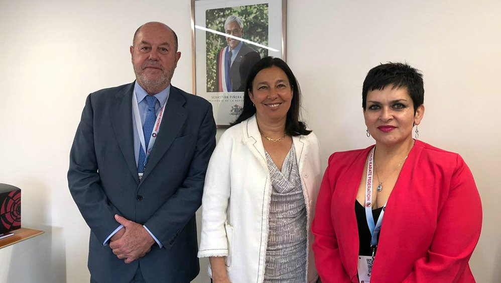 WKF President Antonio Espinós, accompanied by Chilean Karate Federation President María Angélica Coronil, right, received assurances from Chile's Sports Minister Pauline Kantor regarding the conditions for the WKF Cadet, Junior and Under-21 World Championships in Santiago ©WKF