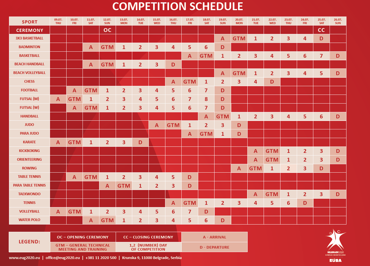 A preliminary competition schedule has been revealed by organisers ©EUSA