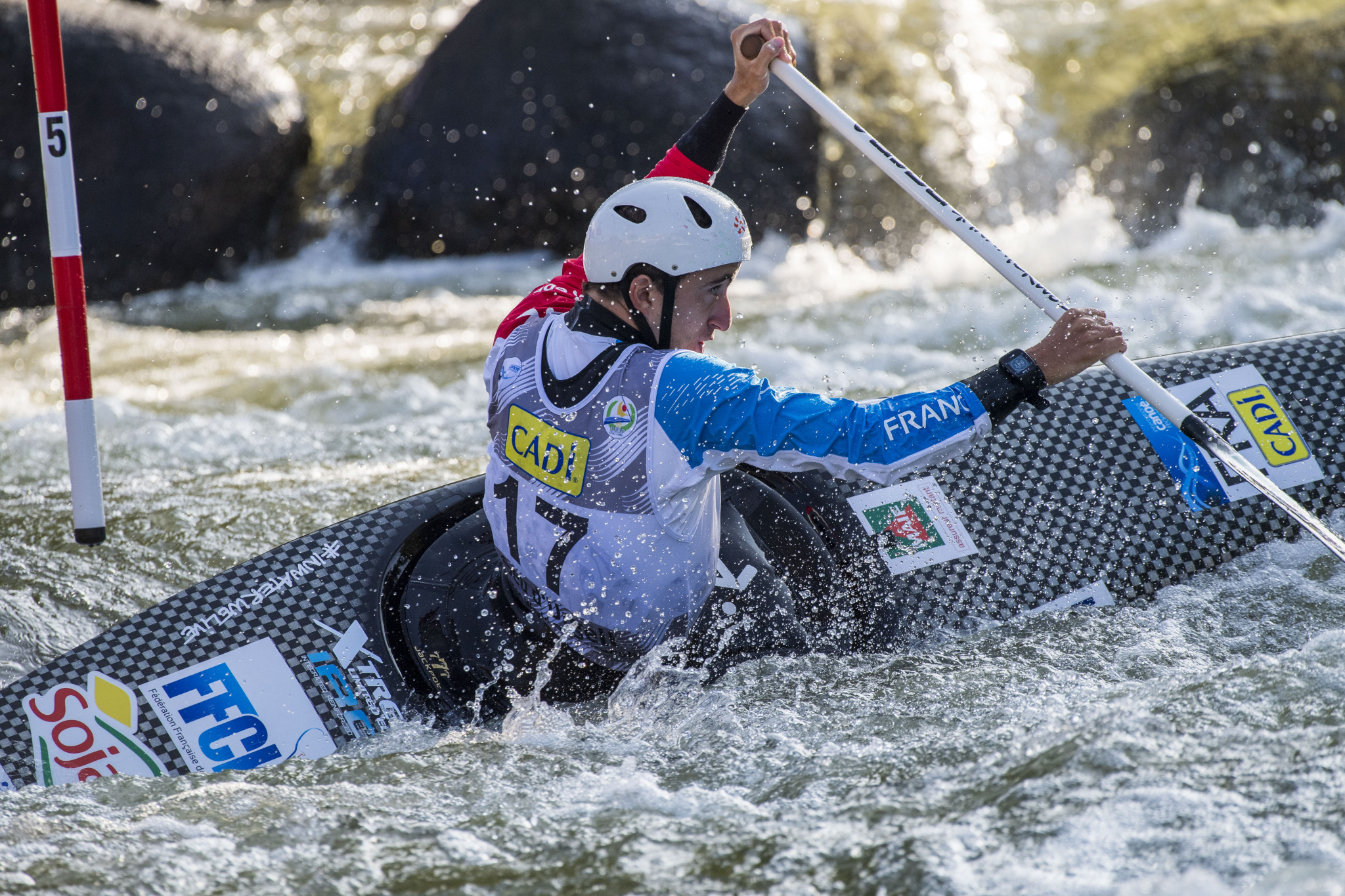 Cedric Joly of France won the opening men's C1 heat at a rain-swept Tokyo 2020 test event for canoe slalom today ©Getty Images