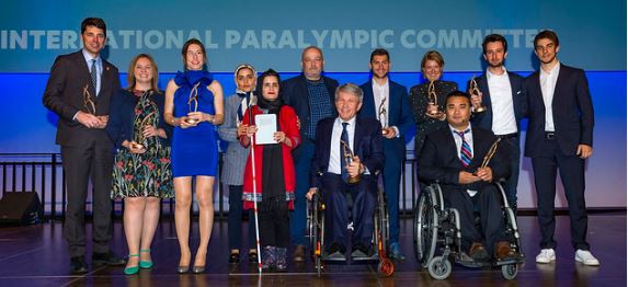 The winners line up at tonight's 2019 Paralympic Sport and Media Awards in Bonn ©IPC