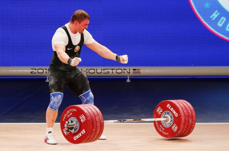 Belarus' Vadzim Straltsou won gold in the men's 94kg clean and jerk and overall