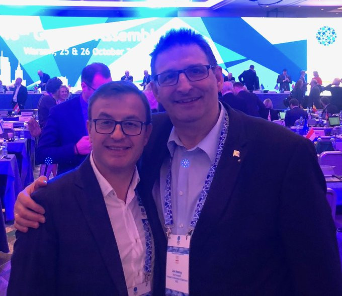 Hestoy (right) attended the European Olympic Committees General Assembly to promote the Faroe Islands case for Olympic recognition ©Twitter