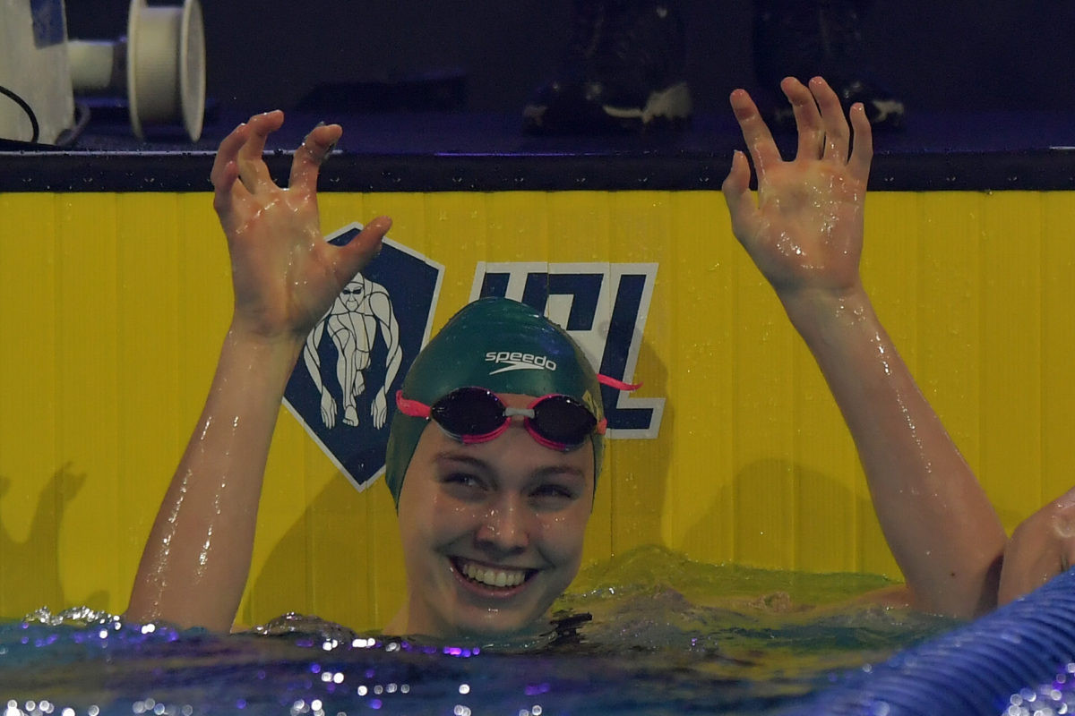 Minna Atherton set a world record at the International Swimming League in Budapest ©ISL