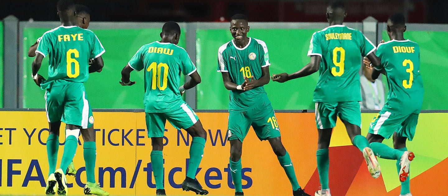 Senegal celebrate a famous victory over the United States on their FIFA Under-17 World Cup debut ©Getty Images