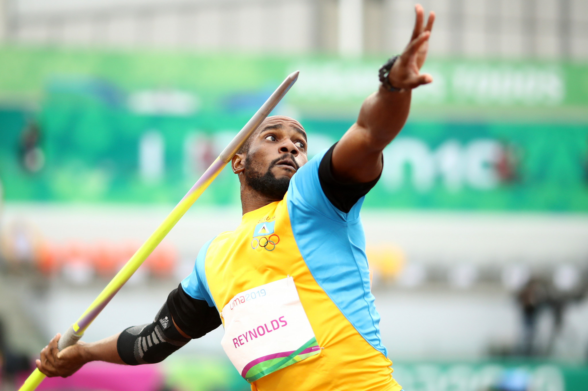 Albert Reynolds claimed bronze for St Lucia in the men's javelin ©Getty Images