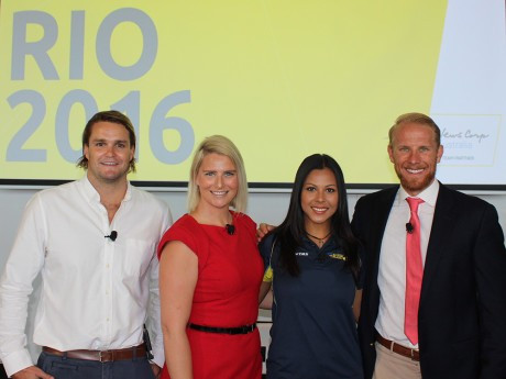 Four Australian athletes were present at the announcement of News Corp Australia as a partner of the AOC ©AOC