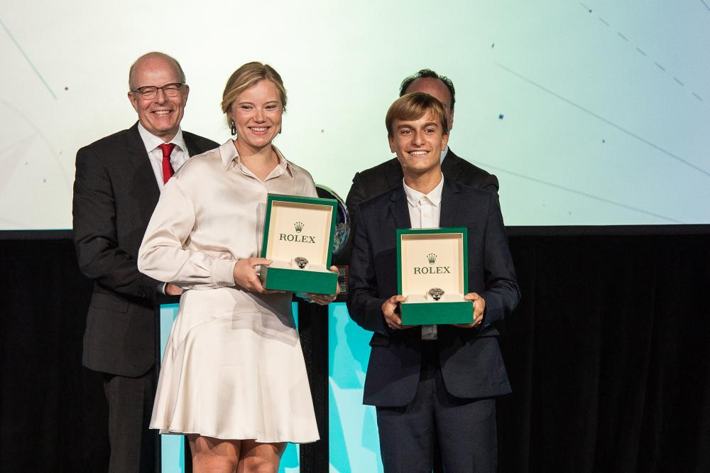 Italy's Marco Gradoni, right, and Denmark's Anne-Marie Rindom have been voted the Rolex World Sailors of the Year ©World Sailing