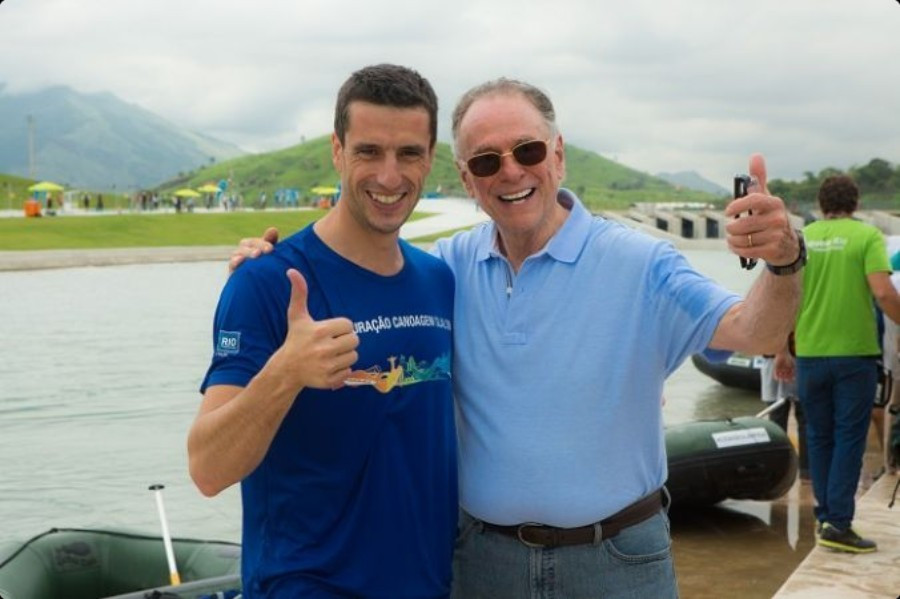 French canoeing legend Tony Estanguet with Rio 2016 President Carlos Nuzman at the venue ©Rio 2016