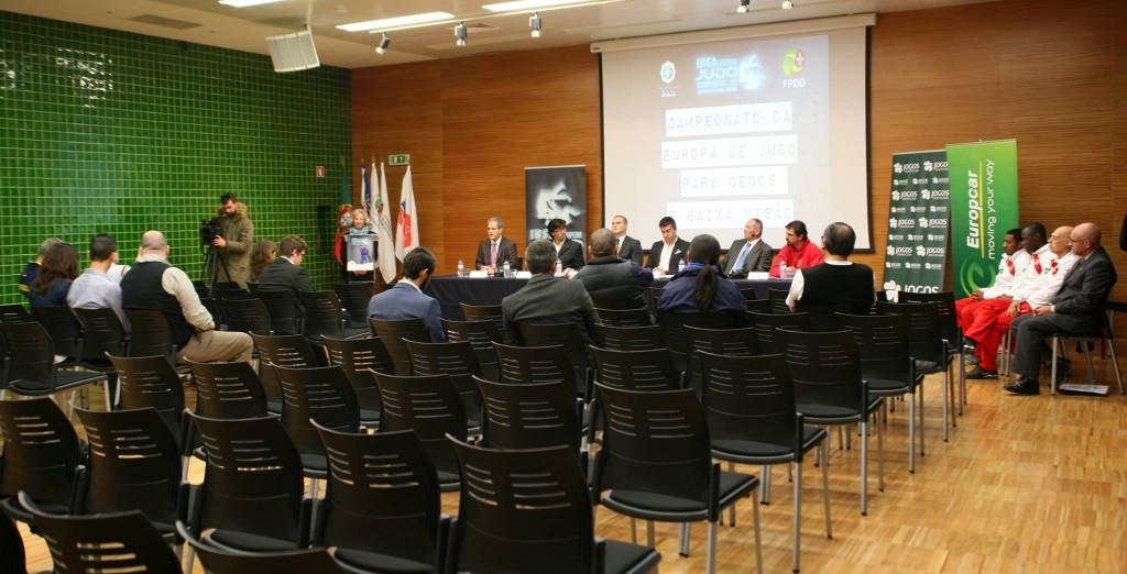 Officials speak ahead of the start of the IBSA  Judo European Championships.©IBSA/Facebook