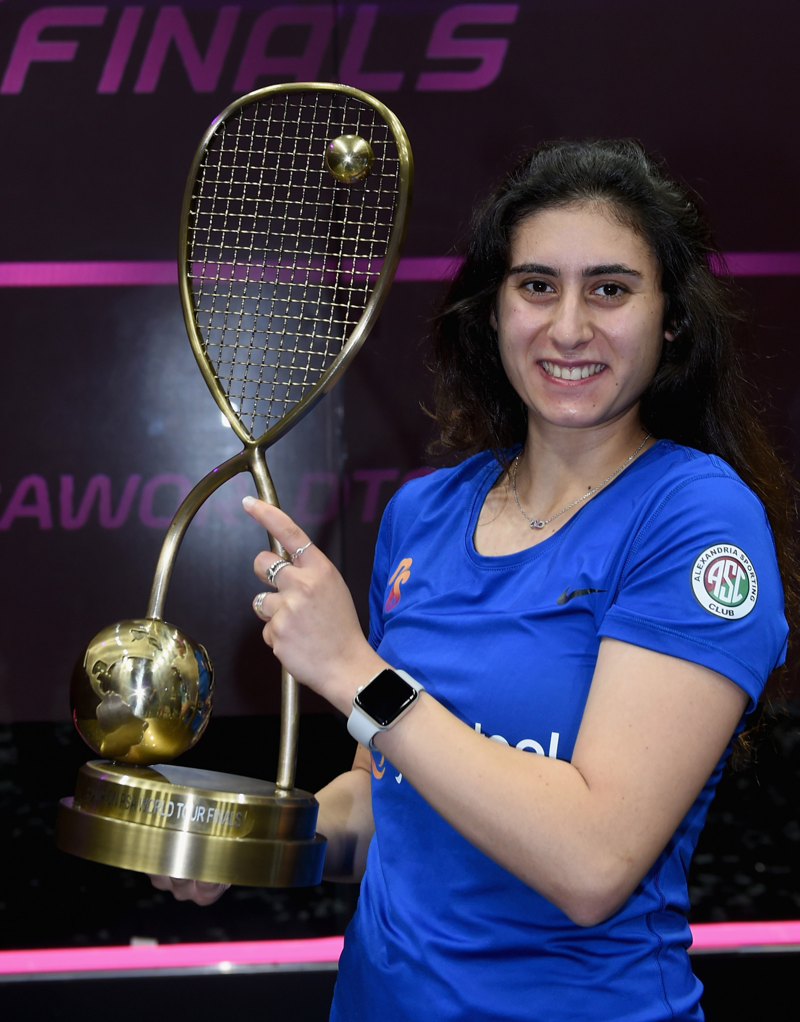 Defending champion Nour El Sherbini reached a fifth successive World Championship final with a 3-0 victory against Egyptian compatriot Hania El Hammamy ©Getty Images