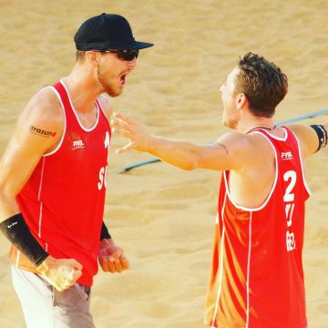 Adrian Heidrich and Mirco Gerson of Switzerland won the FIVB Beach World Tour event in Qinzhou ©FIVB