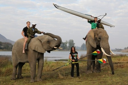 Zimbabwe-based coach Rachel Davis (centre) with the two rowers she coached to the London 2012 Olympics, Peter Purcell-Gilpin (left) and Micheen Thornycroft (right) discovering a novel way of getting to their training lake ©Rachel Davis