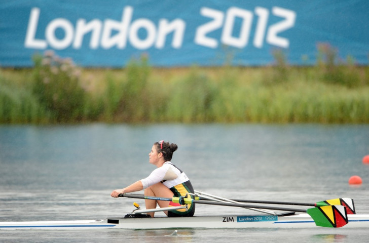 Micheen Thornycroft competing for Zimbabwe in the women's single sculls at the London 2012 Olympics  ©Getty Images