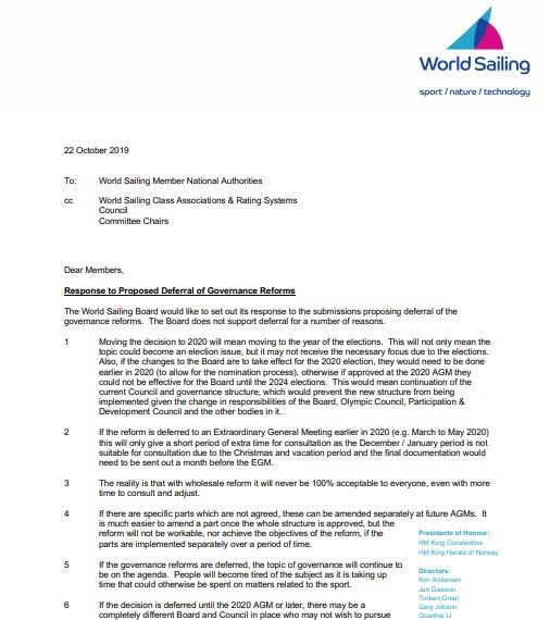 Kim Andersen wrote to MNAs to outline the reasons for supporting the proposal ©World Sailing