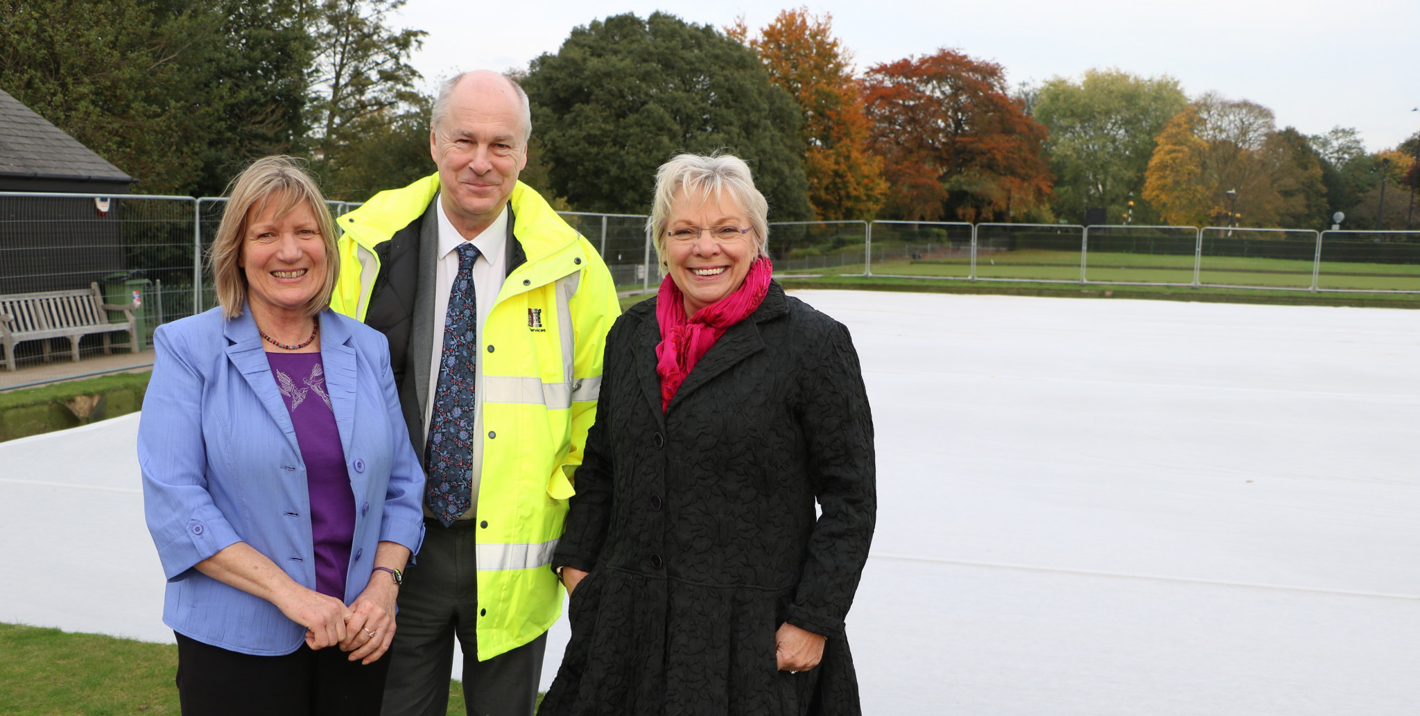 Warwick District Council's Portfolio Holder for Culture, Councillor Moira-Ann Grainger, right, and Commonwealth Games gold medallist Christina Boxer, left, inspected the first stage of work at the Victoria Park Bowling Greens ©Warwick District Council
