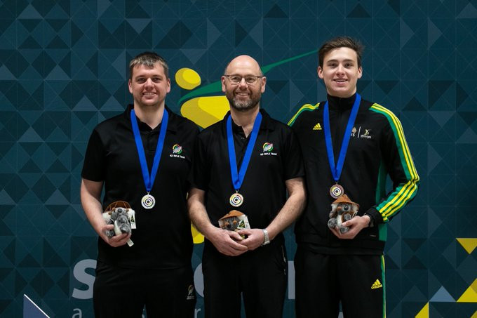 New Zealand's Martin Hunt was joined on the men's 50 metres rifle prone podium by compatriot Owen Bennett and Australia's Alex Hoberg at the Oceania Shooting Championship ©Shooting Australia/Twitter