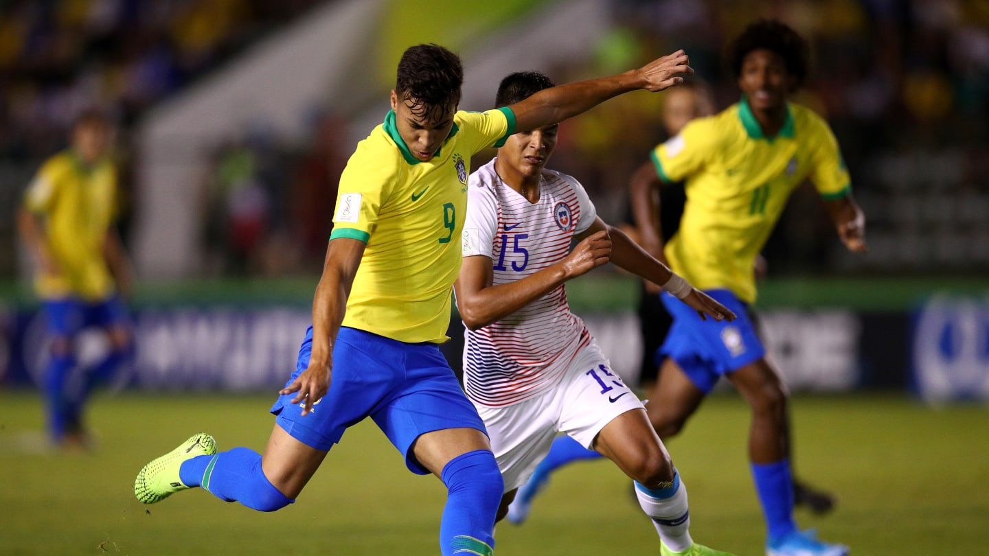 Kaio Jorge scored twice as hosts Brazil reached the FIFA Under-17 World Cup quarter-finals ©Getty Images