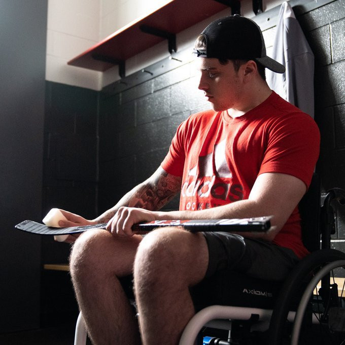 Ryan Straschnitzki, who was paralysed from the chest down in a bus crash last year, is a member of the PX3 AMP hockey team but is unavailable to compete in the USA Hockey Sled Classic due to previously scheduled surgeries ©adidas Canada/Twitter