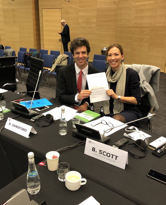 Canada's Beckie Scott is to be replaced as chair of the WADA Athlete Committee by New Zealand skeleton rider Ben Sandford following his election as her successor yesterday ©Twitter