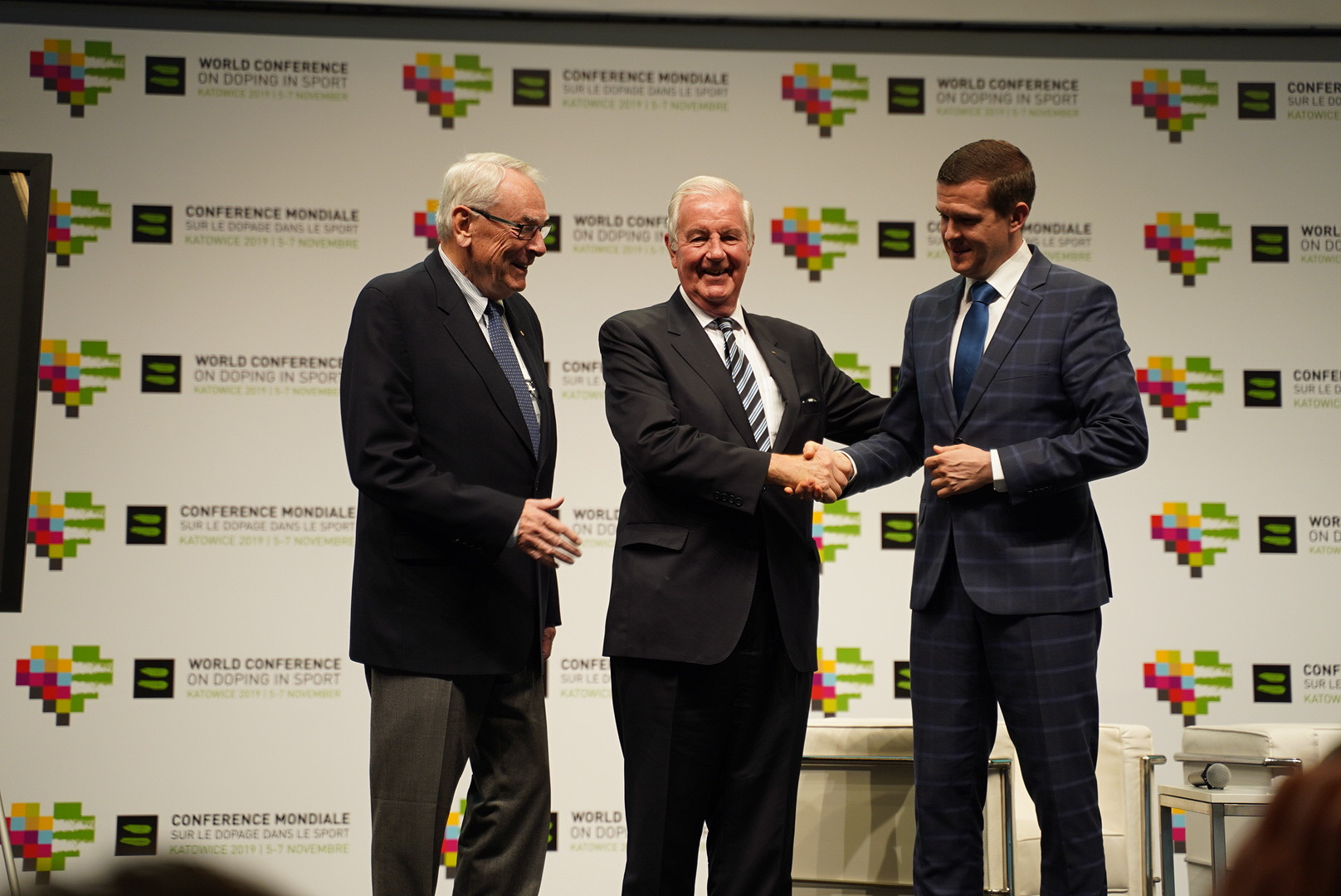WADA's founding President Richard Pound, left, was full of praise for Sir Craig Reedie, centre, as he prepared to hand over to Witold Bańka, right, as head of the organisation ©WADA