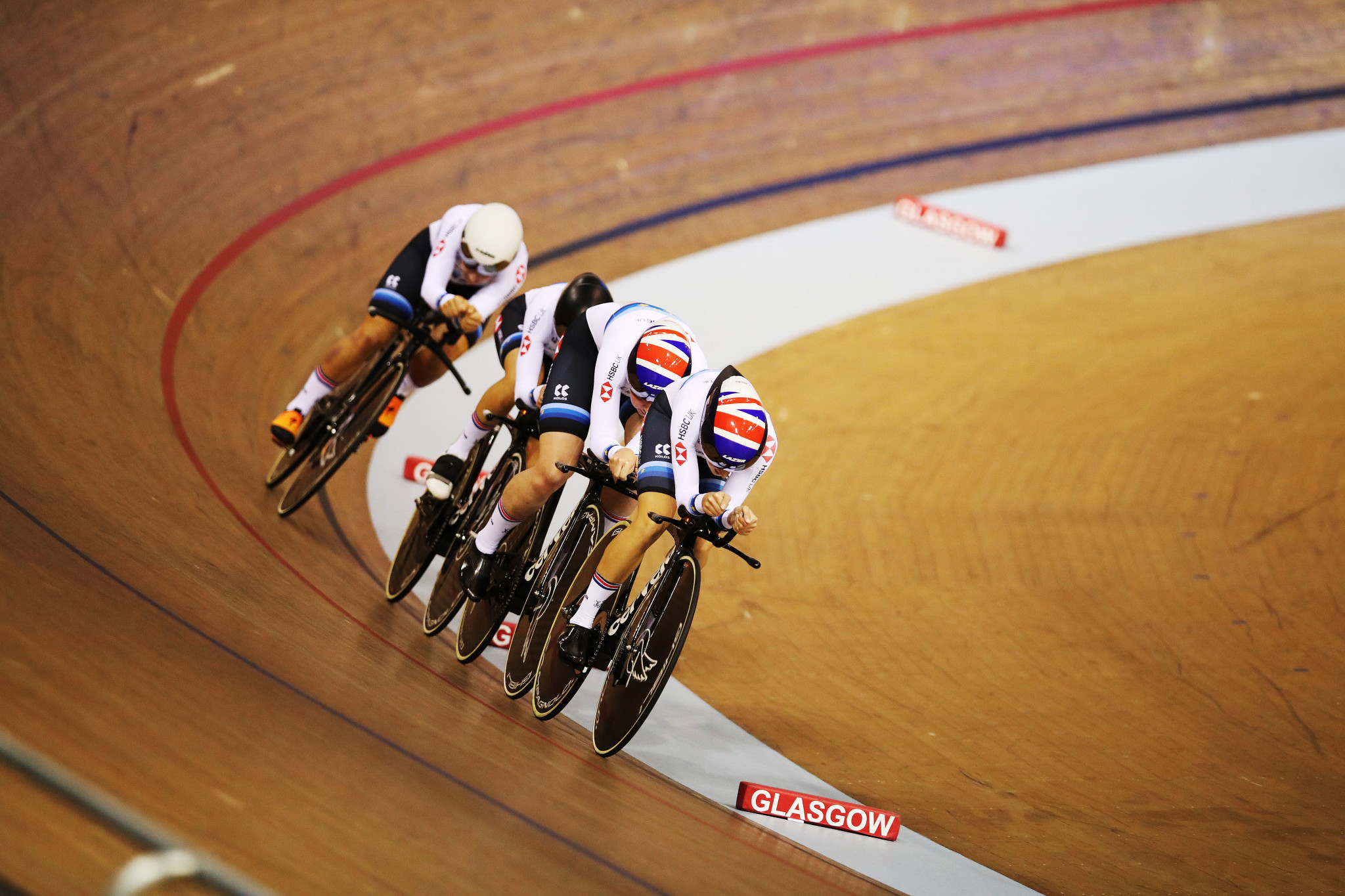Britain triumph in women's team pursuit at UCI Track World Cup in Glasgow