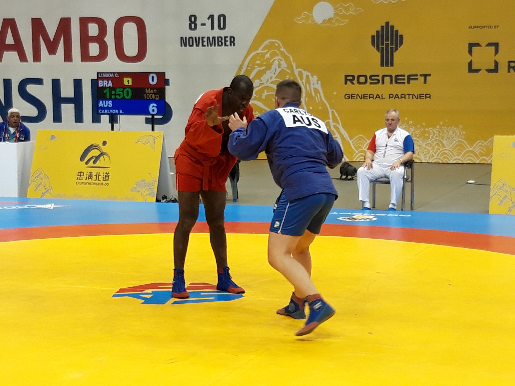 Top seed Cassio Lisboa from Brazil was unceremoniousy dumped out of the men's 100kg preliminary round by Australian Addison Carlyon ©ITG