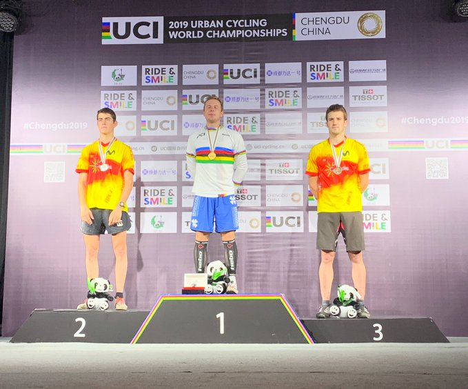 """Germany's Dominik Oswald won the men's elite 20"""" trials event ©Twitter/UCI Trials"""
